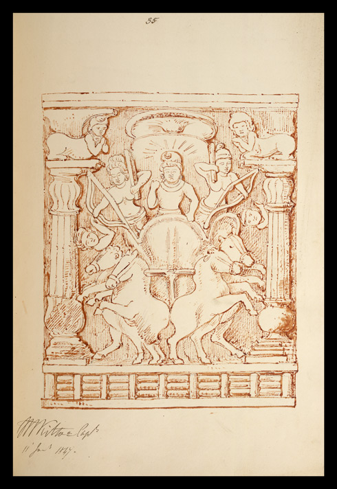 Drawing of sculpture on the stupa rail at Bodhgaya (Bihar), made by Kittoe during his investigation of the site. January 1847. 19